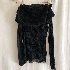 Fuzzi Black Lace Off The Shoulder Top